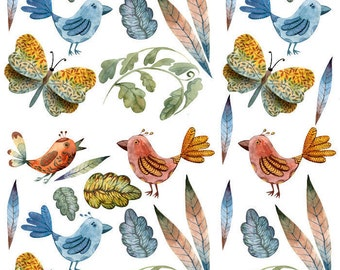 Community  Birds and Flowers - Ceramic Decals- Enamel Decal - Fusible Decal - Glass Fusing Decal ~ Waterslide Decal - 56649