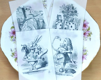 Edible Queen of Hearts Alice in Wonderland Illustrations Set 3 x 4 Black White Wafer Paper Images Cake Decorations Wedding Topper Hatter RTD