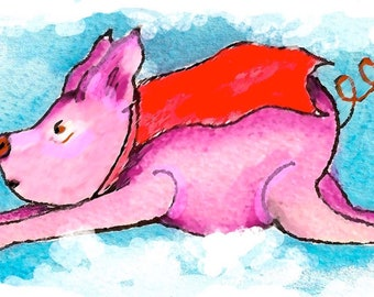 Flying Pig-Whimsical Art Print by SQ Streater-Free Shipping