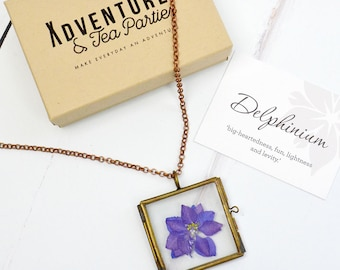 Hand pressed Delphinium necklace - flower jewellery - gift for bride - bridesmaid gift - floral pendant - flower necklace - gift for her