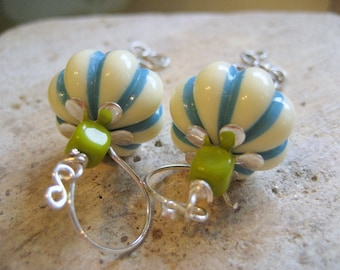 Nantucket Earrings.  Lucite, Glass and Silver Chain