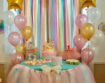 Unicorn Pastels & Gold Sequin Garland Backdrop - rainbow birthday party decoration ... Fabric, Sequin and Lace