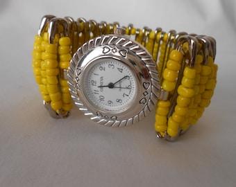 Safety Pin Beaded Watch SunshineYellow