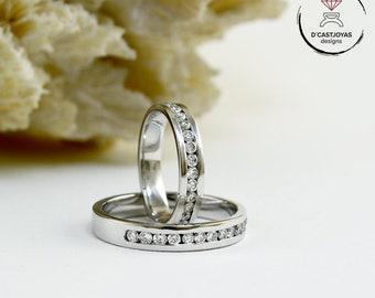 Alianzas oro blanco y diamantes, Anillos para parejas, Anillos compromiso, Anillos hombre y mujer, Alianzas artesanales, Joyeria boda