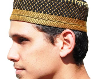 Handcrafted Black Metallic Gold Thread Embroidery Thinly Padded Quilted Soft Kufi Muslim Hat Prayer Cap Topi Peci Taqiya Takke
