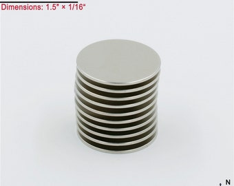 """10-Ct (Free Shipping) Quality (Round) Neodymium N45 NdFeb Large Strong Disc Magnets 1-1/2"""" x 1/16""""; Free Shipping"""