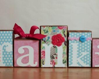 Vintage Floral Baby Shower Blocks- Garden Baby Shower Centerpiece- Garden Mint Pink Baby- Baby Shower Block- Vintage Letters- Floral Nursery