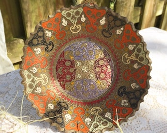 Vintage Decorative Brass Bowl, India, Enamel, red, embossed, repousse decor, boho, bud cloisonné, trinket jewelry dish
