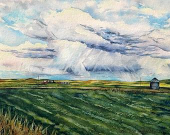 "Big Sky Farmlands No. 1 Original Watercolor Landscape Painting 8"" x 10"" Montana artist Christy Sheeler summer big blue skies dramatic clouds"