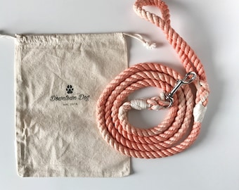 Rose Gold Solid Ombre or Marbled Cotton Rope Dog Leash