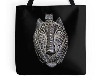 African Art Tote Bag - Featuring Exclusive Benin Bronze Leopard Head Mask Design