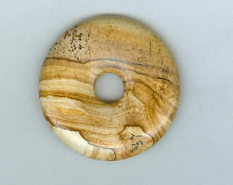 Picture Jasper Focal, 40mm Brown Picture Jasper Gemstone PI Donut Focal Pendant 210