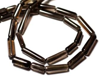 10pc - stone beads - smoky Quartz Tubes 9-18mm - 8741140012332