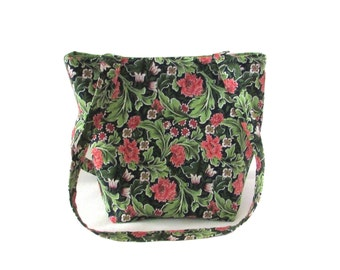 Floral Purse, Small Tote Bag, Green Leaves, Coral Carnations, White Flowers, Handmade Handbag, Fabric Bag, Teen Purse, Shoulder Bag