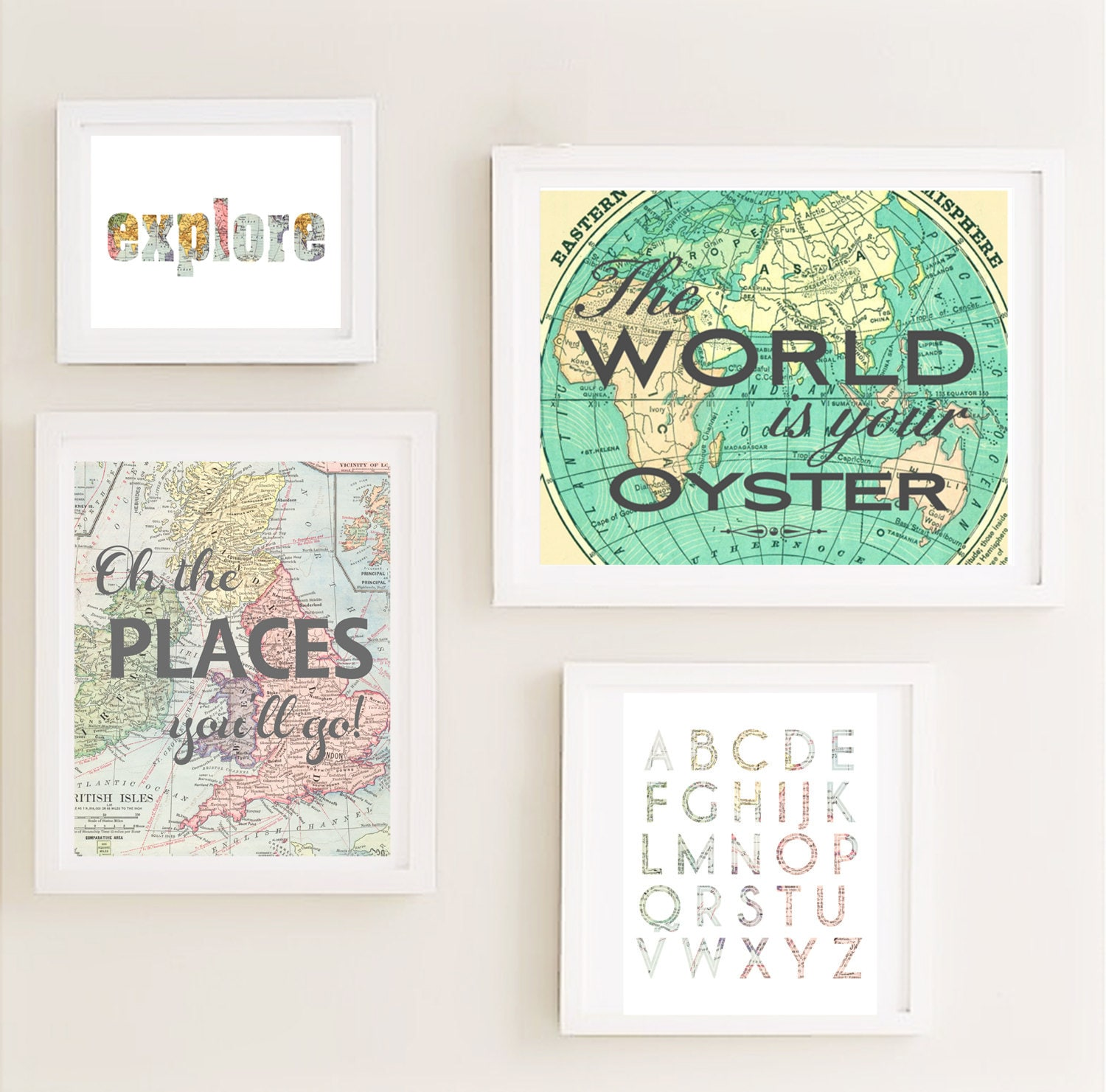 Printable gallery nursery wall art set map world travel Vintage childrens room decor