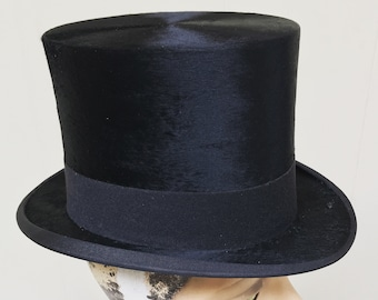 RARE Vintage 1900s Top Hat / Scott and Co. Edwardian Black Silk Plush Topper / Museum Quality / 6 3/4 US