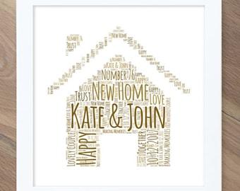 New home gift! Personalised word art / word cloud print!