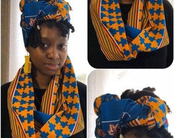 African Print Infinity Scarf & Head Wrap Set Orange/Blue