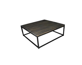 Table coffee steel and wood distressed style industrial loft