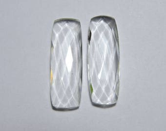 2 Pieces Beautiful Natural Rock Crystal Quartz Faceted Long Cushion Loose Gemstone Size 33X10 MM
