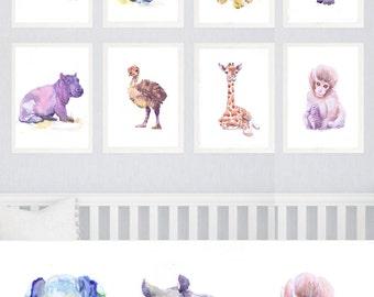 Baby Animals Nursery Set of 8 prints, Watercolor painting, Boy Girl Safari Nursery Decor,Art Watercolour Print, Nursery Prints,Jungle Animal