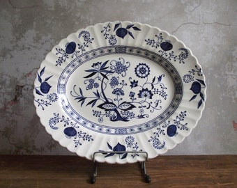 Meakin Blue Nordic Platter , English Ironstone Oval Serving Platter , Blue Onion Swirl Design , Classic Blue & White Farmhouse Decor