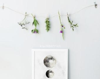 Moon phases print - Printable moon phases - Digital prints - Printable gift for him - Watercolor prints - Moon wall art - Moon phases art
