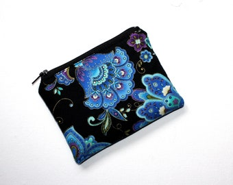 Small Zippered Pouch in Beautiful Blue Floral Fabric