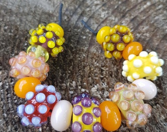Handmade lampwork glass 7 beads set + 8 spacer beads, Lampwork beads sra, autumn beads set, jewelry supplies jewelry making lampwork beads