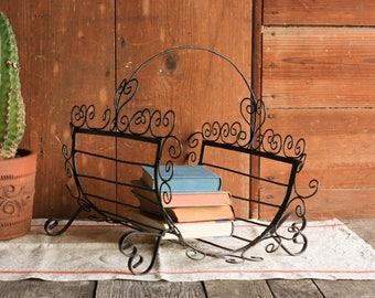 Vintage Magazine Rack, Firewood Holder, Firewood Rack, Wrought Iron Magazine Holder, Firewood Basket, Firewood Carrier, Book Storage Basket