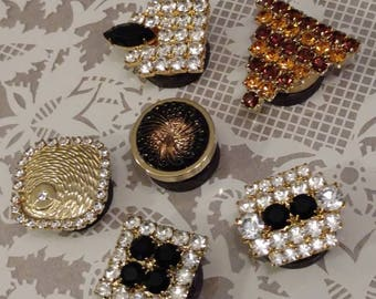 Lot of Magnets, Refrigerator Magnets, Repurposed Magnets, Bling Decor, Rhinestone Lot Magnets, Lot of 6 Refrigerator Magnets