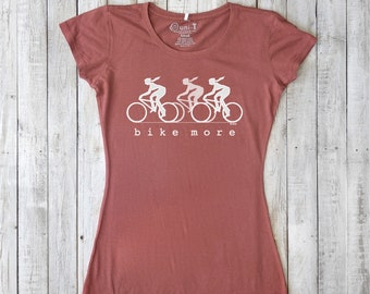 Bicycle T shirts | T-Shirts for Women | Bike Tee Shirt | Gifts for Cyclists | Organic Clothing | Fitness Apparel for Women, BIKE MORE