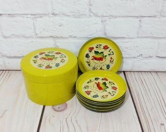 Vintage Canada Floral Emblems Coaster Set Giftcraft Yellow Melamine