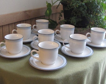 Vintage Johann Haviland Cups and Saucers Eight (8) Available Blue Bouquet Crowning Fashion Vintage Dinnerware