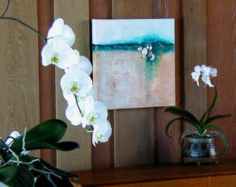 BEACH, Original Acrylic Abstract Assemblage Painting by Joyce Manett