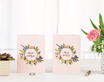 Vow Books, Wedding Vow Book Set, Floral, Blush Pink Vow Books, Gifts for the Couple, Wedding Gift, His and Her, Personalized Vow Books