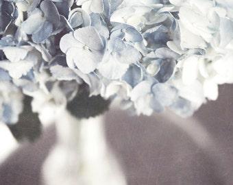 Pastel Blue Flower Print or Canvas Art, Blue Hydrangea, Pale Blue Flower Print, Shabby Chic Bathroom Decor, Silver, Women.