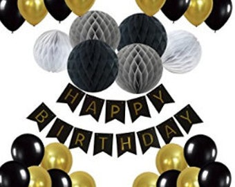 Happy Birthday Bunting Banner with 10 Pieces Latex Party Balloons and 6 Pieces Honeycomb Balls for Birthday Party Decorations - Black