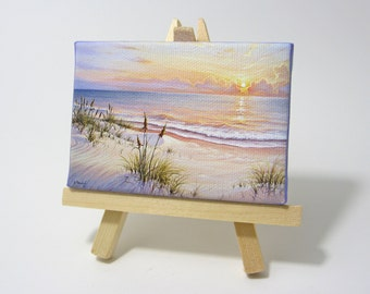 2.5x3.5 Florida Gulf Sunrise, Ocean Seascape Mini Painting by J. Mandrick