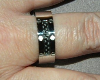 Father's Day Gift, Men's Ring, Stainless Steel, Band, Embedded Black Carbon, Wedding Band, Cool Ring, Anniversary Ring, Biker, Rocker