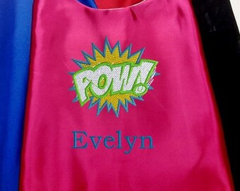 Super Hero cape  Kid's Cape,   Embroidered  Pow Girl's cape Personalized with name