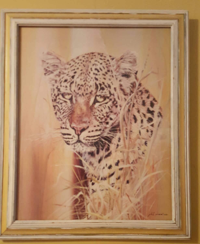 Phil Prentice Leopard Print mit Glas frame Jahrgang