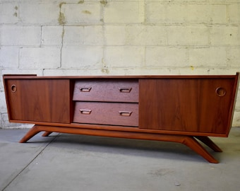 LONG + Low Mid Century Modern styled Teak CREDENZA media stand