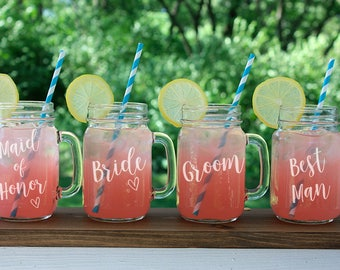 Mason Jar Mug, Wedding Party, Bride and Groom, Mason Jar Glasses, Engraved Mason Mugs, Rustic Wedding