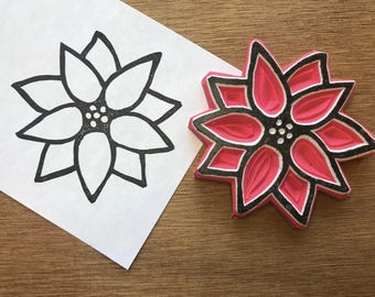 Large poinsettia stamp, flower stamp, Christmas stamp, noel stamp, holiday stamp, Christmas card stamp, rubber stamp