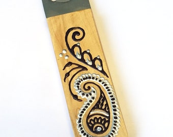 Handmade Wooden Bottle Openers with Handpainted Henna Inspired Decoration