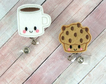 Coffee or Muffin Badge Reel -Coffee or Muffin - Feltie Badge Reel- Retractable ID Badge Holder - Badge Pull