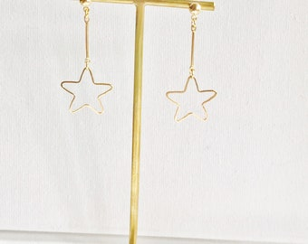 Star Earrings Invisible Clip On  Dangles Non Pierced #65