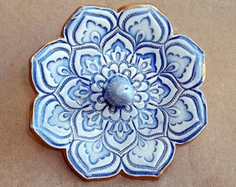 Ceramic Pale Blue Ring Holder Bowl with gold edging