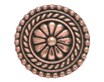 2 TierraCast Bali 11/16 inch ( 18 mm ) Copper Plated Pewter Buttons